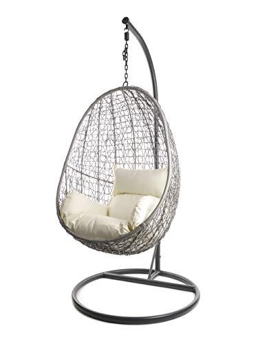 Kideo Komplettset: Hängesessel mit Gestell & Kissen, Lounge-Möbel, Poly-Rattan (Gestell- und Korbfarbe: grau, Kissen: Elfenbein Nest (0050_Ivory))