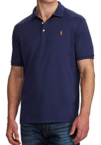 Polo Ralph Lauren Mens Custom Fit Short Sleeves Polo Shirt (Large, Navy Blue (Multi Color Pony))