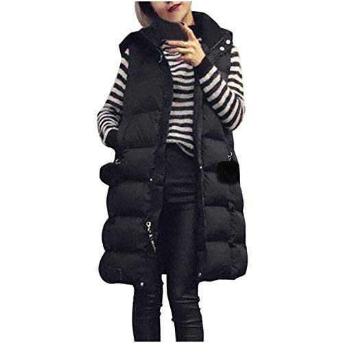Uninevp Chaleco largo para mujer, chaleco de plumón fino con capucha, chaleco acolchado suelto, chaqueta de...