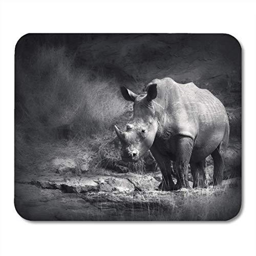 Yanteng Mouse Pads Vida Silvestre Rinoceronte Negro Rinoceronte Procesamiento Artístico Animal África Mouse Pad para Cuadernos esteras