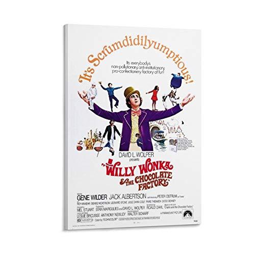 Poster del film Willy Wonka e la fabbrica di cioccolato poster decorativo su tela da parete per soggiorno, camera da letto, 40 x 60 cm