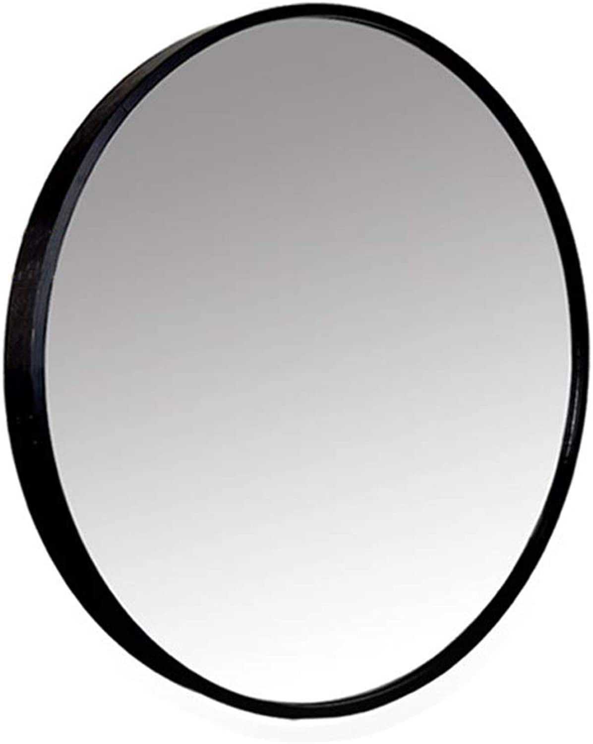 WXF Wall Mirror Decor Round, Contemporary Brushed Metal Black Wall Mirror Explosion-Proof Silver Mirror Glass Wall Mounted Mirror (color   Black, Size   30cm)