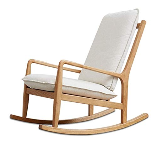 HLZY Home Furniture Meditation Chair Comfortable Rocking Chair Solid Wood Leisure Armchair, Removable and Washable Cushion Single Sofa Rocking Chair Bedroom Garden Relax Furniture
