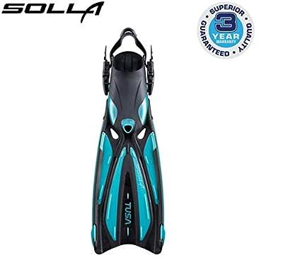 TUSA SF-22 Solla Open Heel Scuba Diving Fins, Small, Ocean Green