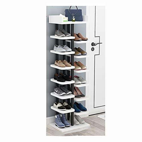 OIFFIY Estante de Zapatos de pie con Ocho Capas, Organizador de Zapatos, Organizador de Entrada Corredor o Sala de Estar. (Color : Black Frame+Warm White)