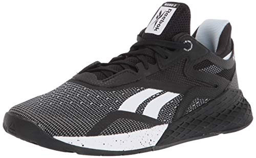 Reebok Women's Nano X, Black/White/Glass Blue, 8