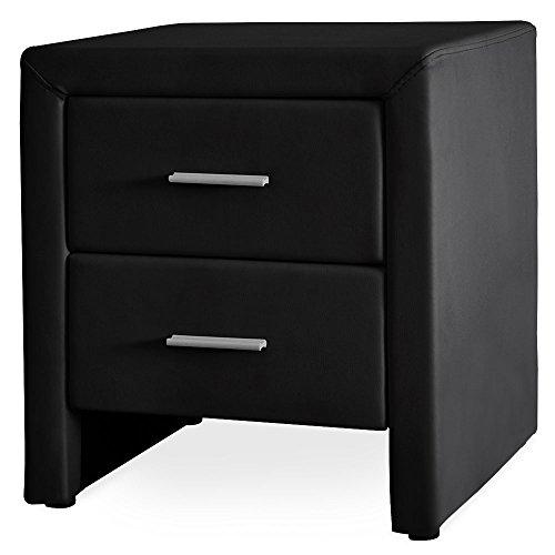 Corium Nachttisch 2 Schubladen Schwarz Kunst Leder Nachtkommode Beistelltisch