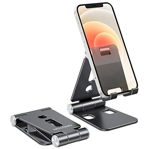 OMOTON Handy Ständer Faltbar, Verstellbare Aluminium Handy Halterung Tisch Kompatibel mit iPhone 12/Mini/Pro/Max/11/SE/Xs Max, Samsung/Huawei/Tablet und Anderen Smartphones (4-9,7 Zoll), Schwarz