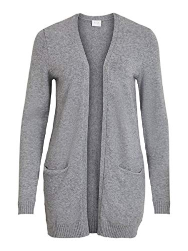Vila Damen Viril Open L/S Knit Cardigan - Noos Strickjacke, Medium Grey Melange, M EU