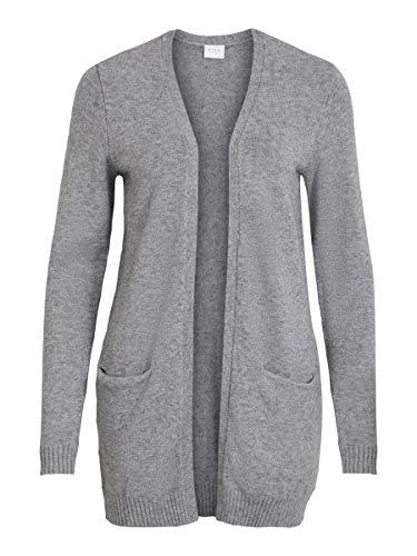 Vila Damen Viril Open L/S Knit Cardigan - Noos Strickjacke, Medium Grey Melange, XL EU