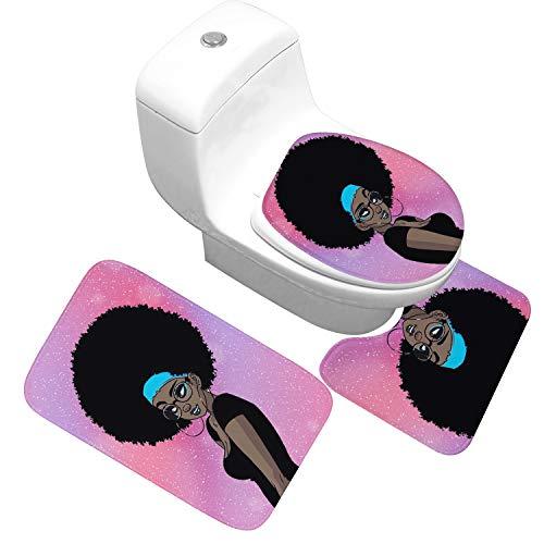 Tapis Indien Africain Toilette Trois Piece Carpette Natte Plancher Mode Chic Toilette Salle De Bains Coussin De Pied Water Slip Spread (Color : 8, Size : Big-Three piece)