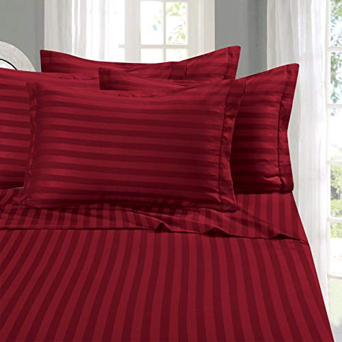 Elegant Comfort Best, Softest, Coziest 6-Piece Sheet Sets! - 1500 Thread Count Egyptian Quality Luxurious Wrinkle Resistant 6-Piece Damask Stripe Bed Sheet Set, Queen Burgundy