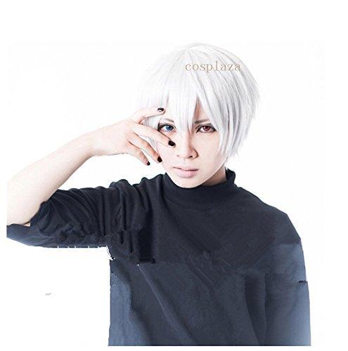COSPLAZA Peluca para cosplay Tokyo Ghoul Kaneki Ken White Short Unisex Cosplay Wig