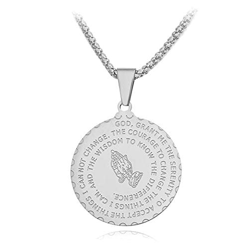 QAQV Versículo Bíblico Oración Moneda Collar Medallas Colgante Lados Dobles Usar Orar Decorar Joyería Hombre-Blanco_1553