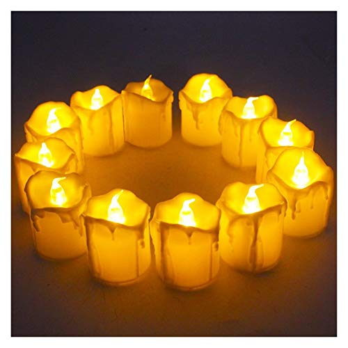 Tlwangl Candle Light Halloween Decorations Candles,Flameless Votive LED Tea Lights,Battery Operated Fake Candles Realistic Tear Drop Candles (Body Color : Ivory, Emitting Color : 24PCS)