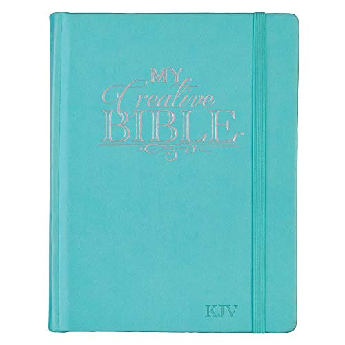 KJV Holy Bible, My Creative Bible, Teal Hardcover Faux Leather Journaling Bible w/Ribbon Marker, 400 Scripture Illustrations to Color, King James Version
