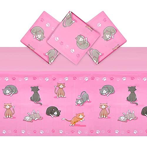 Mantel de plástico rosa caliente para fiesta de cumpleaños de gato (54 x 108 pulgadas, 3 unidades)