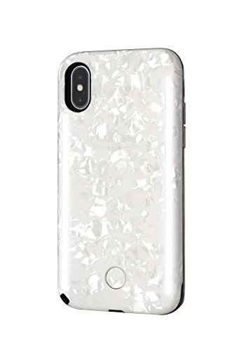 LuMee Duo Selfie Phone Case, Pearl White | Front & Back LED Lighting, Variable Dimmer | Shock Absorption, Bumper Case | iPhone X / iPhone XS - LD-IPX-PRLW