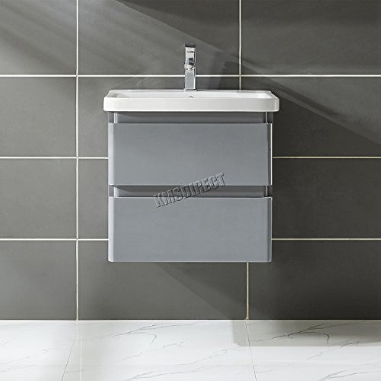 FoxHunter Moderner Unterschrank 60cm MDF Hochglanz wandhngend mit 2Schubladen Waschbecken Badezimmer Garderobe Schrank Schrank Mbel vu01grau