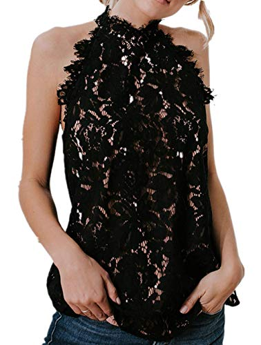 Bigyonger Womens Sleeveless Lace Tank Tops Crochet Halter Neck Sexy Cami Tunic Blouse Black