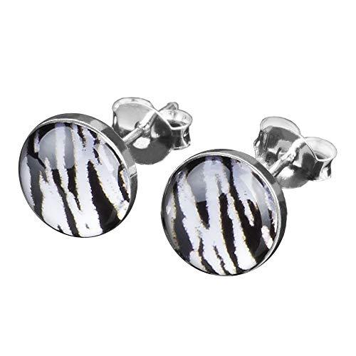 viva-adorno 1 Paar Damen Ohrstecker Ohrringe rund Edelstahl Schwarz Zebra Tiger Streifen Z210, schwarz weiß