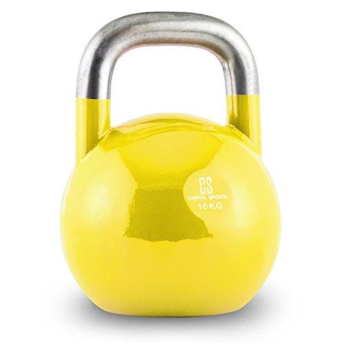 kettlebell da 16 kg Capital Sports Compket Competition Kettlebell Peso Sfera in Acciaio (Giallo