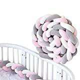 Trenzado Cuna Bebe Parachoques 2m Protector Cama Bebé Serpiente Protector Para Cunas (Rosa Gris Blanco)
