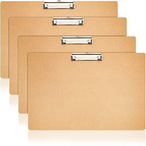 Juvale 4 Pack Wooden Ledger Size Landscape Horizontal Clipboards Hardboard for Office, 17.5x11.5