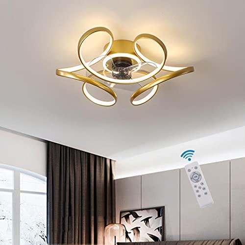 WJLL Dormitorio Ventilador Techo con Luz Reversible Mando a Distancia Silencioso 3 Velocidades Sala Led Ventilador de Techo Φ45cm Moderno Regulable 48W Ventilador Techo con Luz,Oro