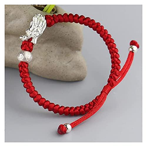 SUCICI Hombres Mujeres Feng Shui Riqueza China Afortunado Regalos Tejido a Mano Encanto Rojo Cuerda Pulsera Retro Pulsera para Mujeres Pareja atrae Dinero Buena Suerte trae Prosperidad, Rojo