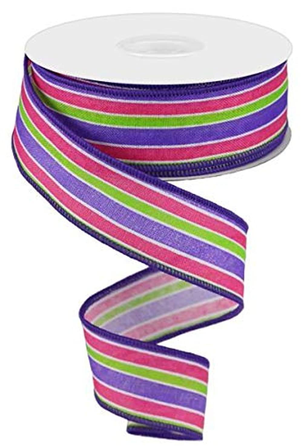 Spring Easter Stripe Wired Edge Ribbon | Purple Lime Pink (1.5 Inches x 10 Yards)