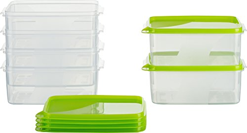 MiraHome Frischhaltedose Gefrierbehälter 0,75l Rechteckig hoch 15x10x7 cm 6er Set grün Austrian Quality