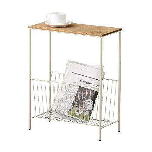 Axdwfd Table d'appoint Nordic Narrow Bed Fer Forgé + Bois Massif Narrow Side Mini-Meuble à Café Latéral Blanc Noir Multi-fonctions Deux Tailles (Couleur : Blanc, taille : 50 * 25 * 55cm)