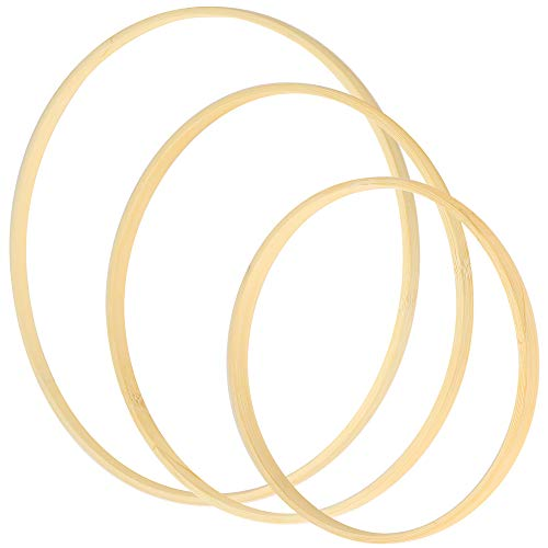 Sntieecr 3 Pack 3 Sizes Large Bamboo Floral Hoop Wreath Wooden Macrame Craft Hoops Dream Catcher Bamboo Rings for DIY Christmas Hoop Wreath and Wall Hanging Decors (12 inch/ 14 inch/ 16 inch)…