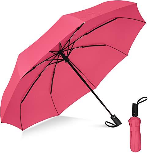 Rain-Mate Compact Travel Umbrella - Windproof, Reinforced Canopy, Ergonomic Handle, Auto Open/Close (Pink)