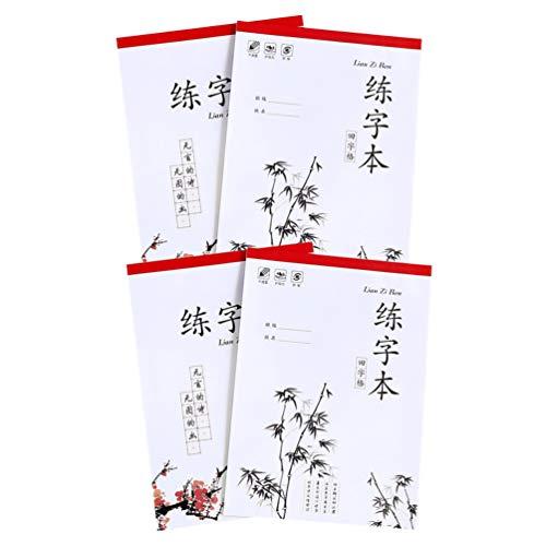 STOBOK 4Pcs Prática de Caligrafia Chinesa Livro Livro para Aprender Mandarim Chinês Caligrafia Caneta Escrita Água Dura Personagens
