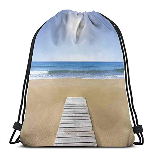 LLiopn Drawstring Sack Backpacks Bags,Wooden Deck On Golden Sandy Beach with Sky Landscape and Sun Shine Wave Sea Print,Adjustable.,5 Liter Capacity,Adjustable.