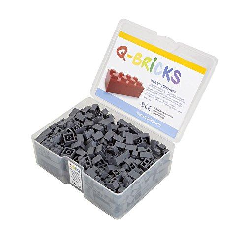 Q-Bricks Box 300Stck. Unicolor Bausteine in 5 Standardformaten: 2X4, 1X4, 2X2, 1X2 e 1X1 Noppen, Staubgrau 851
