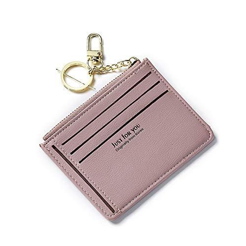 inherited Dam mini myntväska plånbok med nyckelring, PU-läder dragkedja liten bytesplånbok flera fack kort fodral kontanter hållare organiserare myntväska för damer flickor (10,8 x 8,7 cm) – rosa