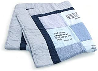 Stuff4Tots Bible Verse Baby Quilt – Beautiful Cotton Blanket Embroidered with Scriptures – Unique Christian Gifts for Baptism or Baby Shower - Boy