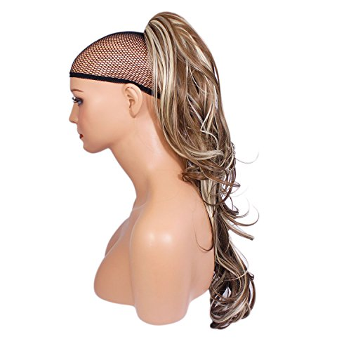 Elegant Hair - 56 cm / 22 pouces queue de cheval flick – Brun cendré/mélange blond #10/613 -Clip-in pièce de extensions de cheveux réversible - Avec griffe-clip - 30 Couleurs - 250g