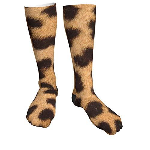 Calcetines deportivos con patrón de piel de leopardo para hombres y mujeres, calcetines gruesos para correr, vuelo, viajes, montañismo