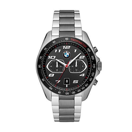 BMW BMW8011 - Reloj de cuarzo para hombre con correa de acero inoxidable, color negro, 22 (modelo: BMW8011)