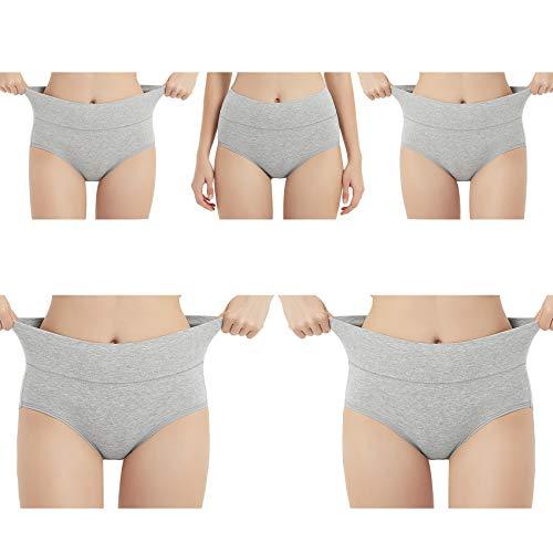 EKSHER Damen Unterhosen Baumwolle Unterwäsche Hohe Taille Slips 5er Pack Hoher Taillenslip für Frauen-Grau-XL