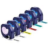Invoker - Cinta de Etiquetas compatible para usar en lugar de Dymo Letratag 91201-91205 Cinta Etiquetas plastico 12mm x 4m , para Dymo Letratag LT-100h LT-100T LT-110T XR XM QX50 Etiquetadora