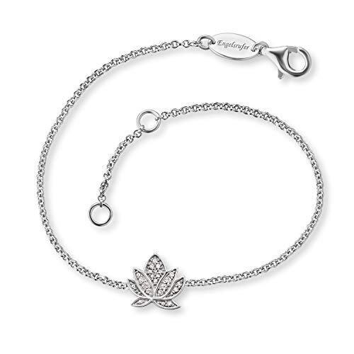 Engelsrufer - silbernes Armband Lotusblüte, Lotusblume Damen & Mädchen aus 925 Sterlingsilber mit Zirkonia Edelsteinen, Edelschmuck Frauen Armbänder mit Lotus Blüte, Blume