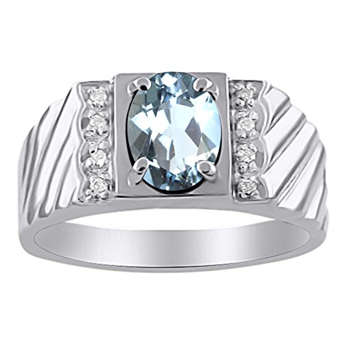 Diamond & Aquamarine - Anillo de plata de ley o chapado en oro amarillo