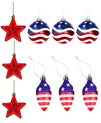 9 Pieces Independence Day Star Christmas Ball Light Bulbs Hanging Ornaments Patriotic Day July of 4th Ball Hanging Decoration for Holiday Wedding Tree Decorations