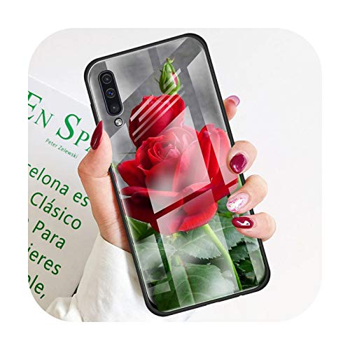 Phonecase - Carcasa para Samsung Galaxy A50, A51 y A71 A72 A70 A31 A30 A10 A40 A41 A21S M31 M51 Tempered Covers Roses Flowers-T05-For Samsung A71