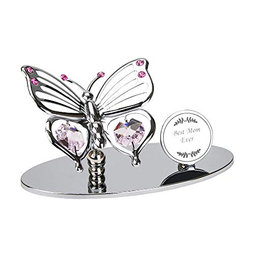 Haysom Interiors Silver Plated Metal Butterfly Best Mom Ever Ornament with Pink Swarovski Crystal Glass   Beautiful Gift Idea